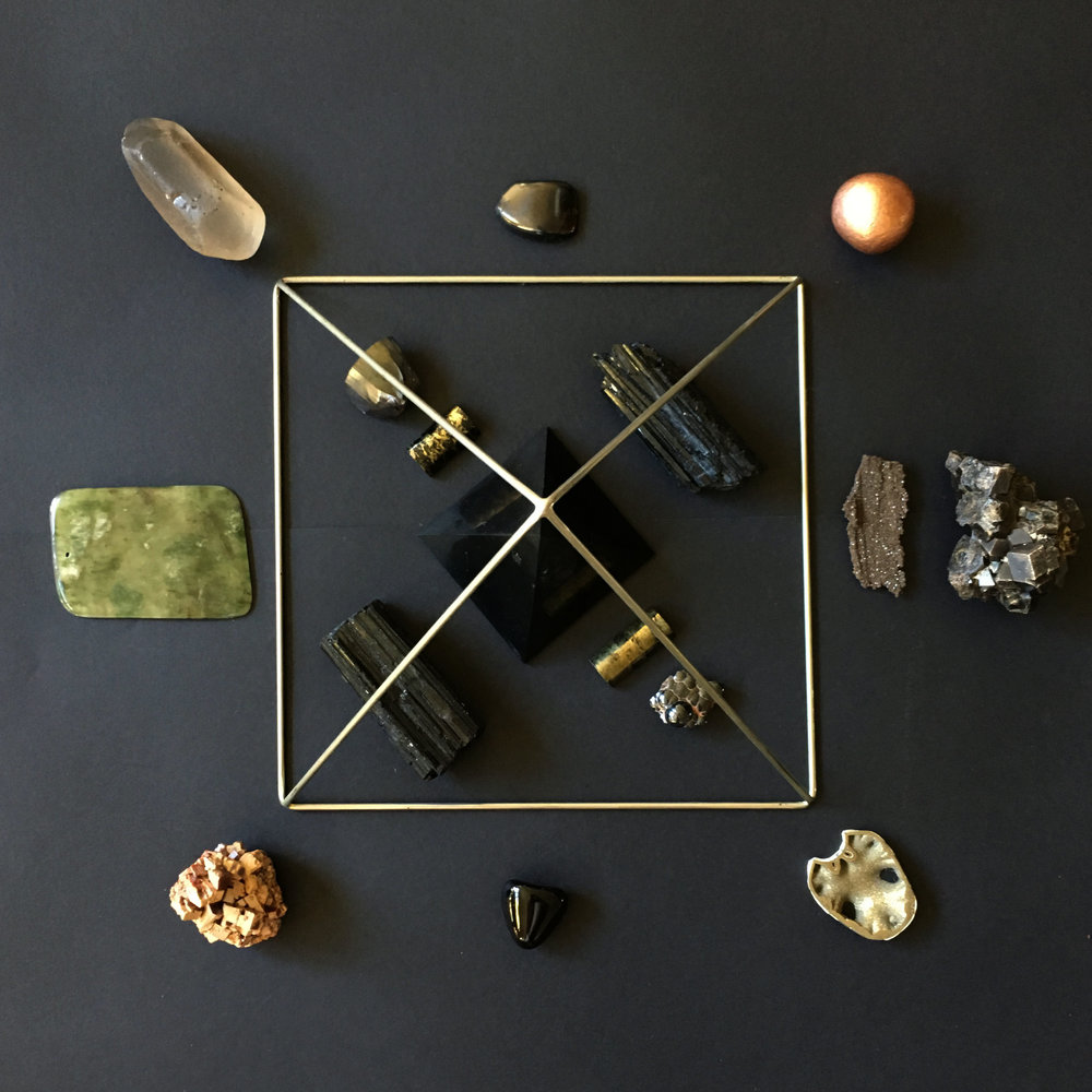 Altar for the workshop. This grid holds the energy of your grounded body. All of the recorded meditations hold it's energy - so this will also be a grid that effects you and holds space for you as you do the meditations.
