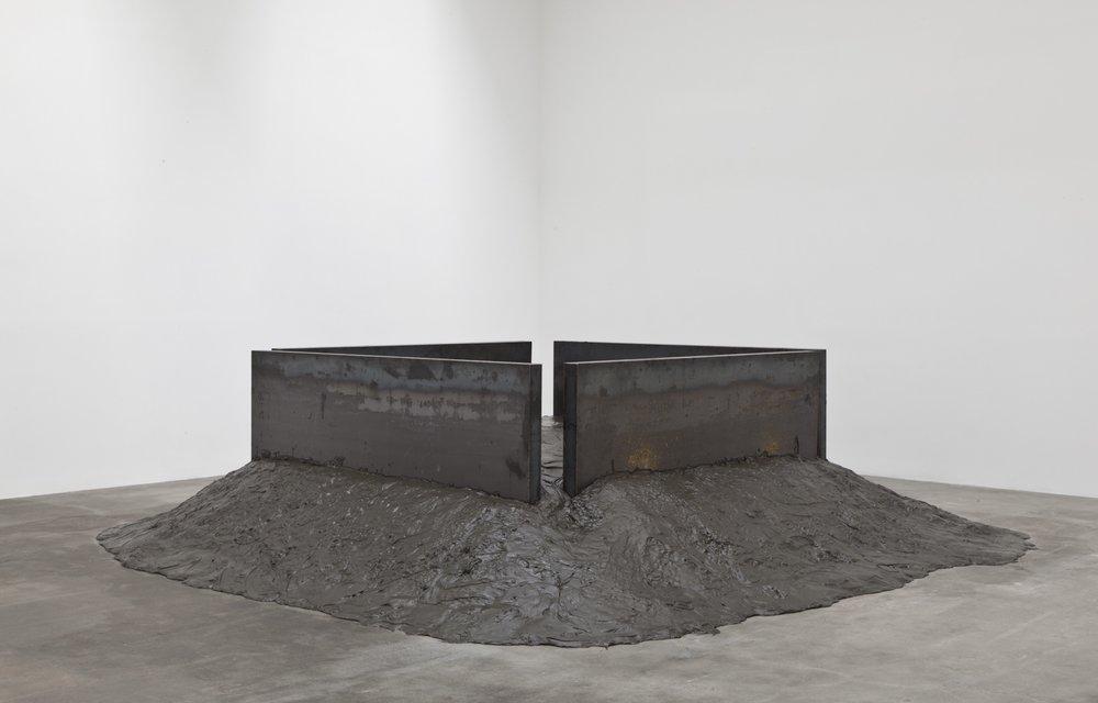 Kisbio Suga,Soft Concrete, 1970/2012, Concrete, oil, steel plates