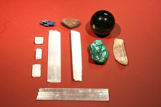 Lapis, unknown, obsidian, malachite, selenite