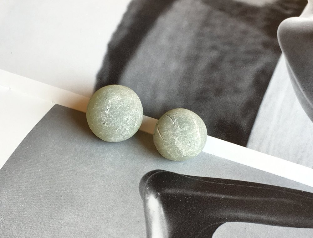 Prehnite photographed with Henry Moore