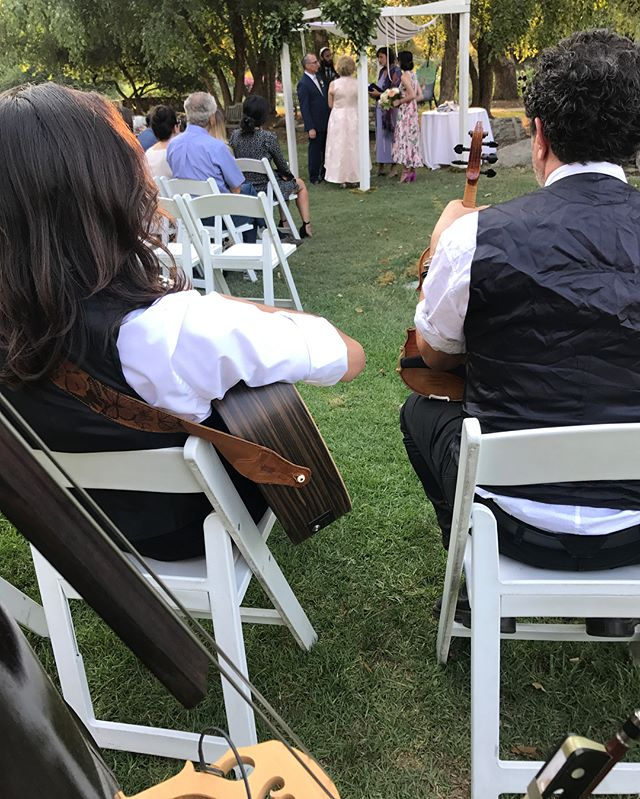 Lovely wedding gig today w/ @chrismurphyviolin , @red_six_standing_by and bernie meisinger for @teahousemusicco at the beautiful @descansogardens #uprightbass #weddingband #weddingseason #aguilaramp