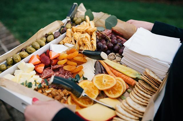 Don't get up. Let us bring the charcuterie and cheese to you. #frcustomcatering #charcuterietray #mobile #cltcatering
