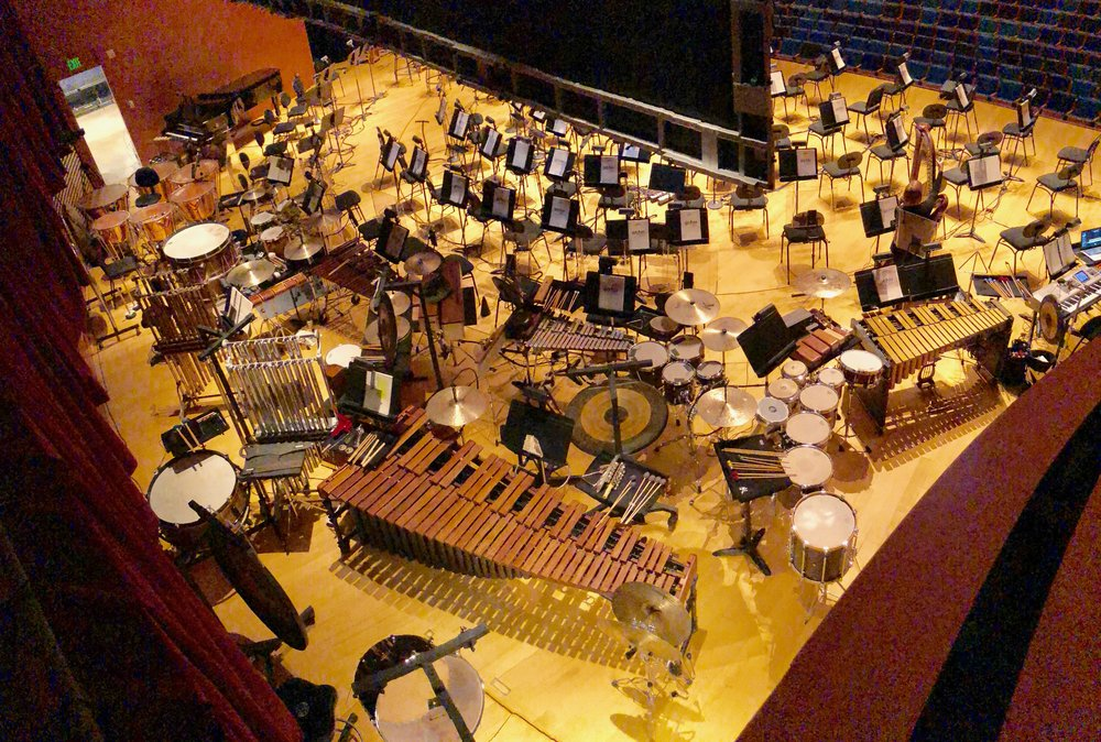 Percussion section for Harry Potter and the Prisoner of Azkaban, with Kansas City Symphony in Helzberg Hall, Kansas City, MO.