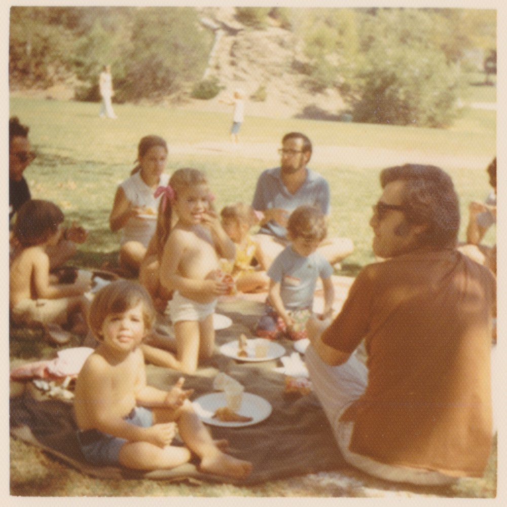 "Outdoor picnic when going ""topless"" was totally acceptable. Kenter Canyon Park/ 70's"