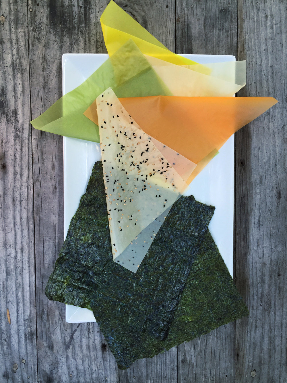 Food Origami! Soy paper, colored naturally with tumeric, paprika and spinach & Nori aka seaweed wrap.