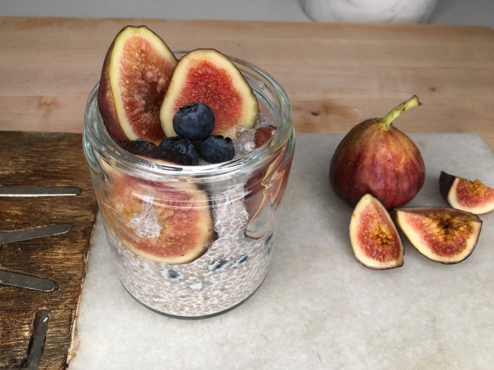 Chia Seed Pudding with fresh Summer figs. Photo Cred  Minimalist Movement