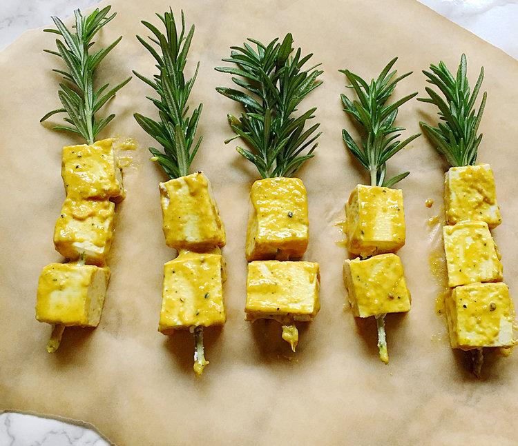 rosemary tofu lolly-pops -