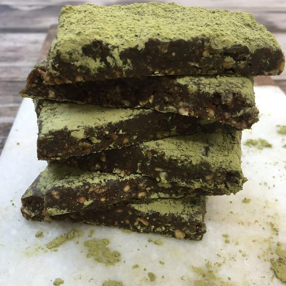 Chocolate Matcha Date Bars -