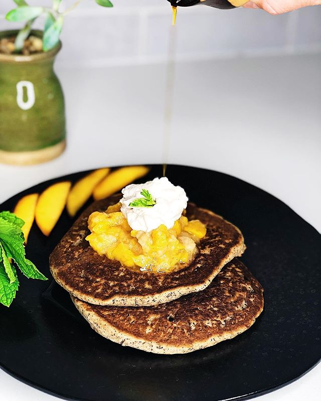"When life gives you dental surgery make pancakes 🥞! That's what they say right? 😋 These delicious buckwheat pancakes 🥞, (yup despite having the word ""wheat"" in it you can safely consume BW on a #gfdiet & they are a treat for breakfast, lunch or dinner containing lots of nutrients #nutrientdense 👍🏼 let's brag bout the health benefits of #buckwheat, they have minerals like copper and magnesium, B's, protein, antioxidants, perfect energy fuel before a workout and a great source of fiber. 💕 I made a variety of  accoutrement's to top them off, like pear 🍐 peach 🍑 compote, applesauce 🍏🍎 & stewed plums, some delicious summer fruits I always take advantage of. Also I need lots of ""baby food"" like consistency for my teeth's. 😁 Also, I went a little nuts in the Nut butter family cause I can't eat the whole ones 🥜 for a while 😢, gots to churn 'em all up but that's ok I'm more of a creamy than a crunchy gal 😁anyways. I whipped up cashew butter, almond & had to do the HAZEL-nut (in honer if my lil fur baby)🥜🐶 All n'all my prognosis looks good & I can still eat birthday cake 🎂 this weekend so I'm smiling bout that!  Happy #friyay 😁😀😃😄😆. #thefoodathlete ™ 💚🥑💪🏼"