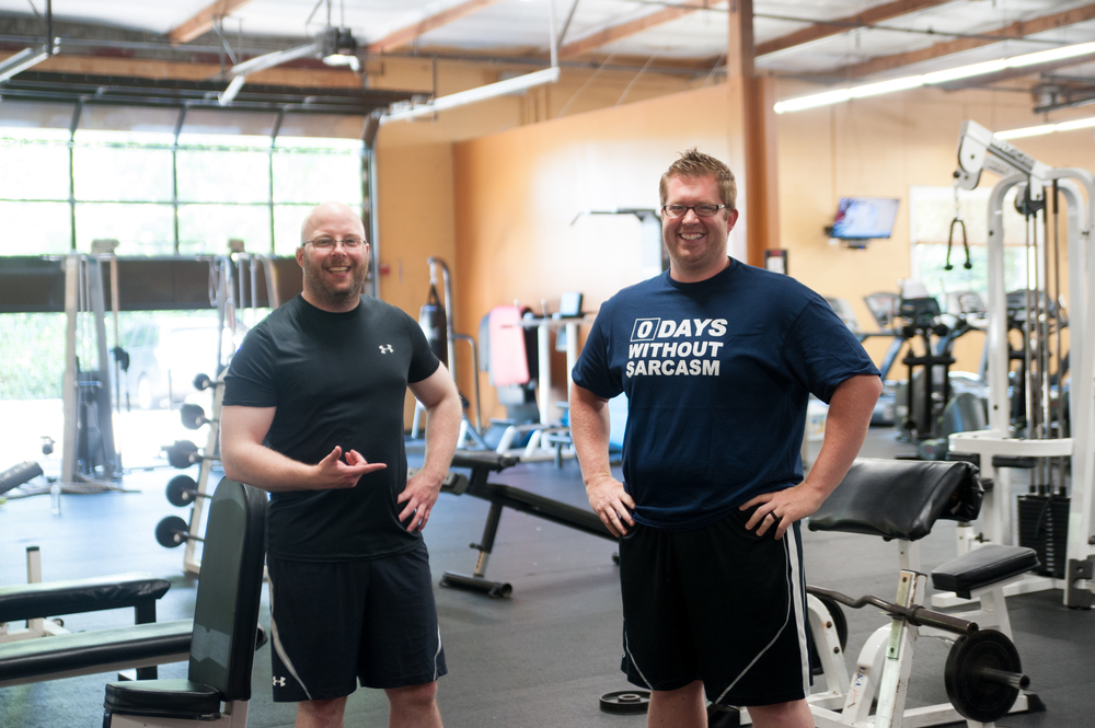 kevin (left) gets sassy with workout buddy, jesse (right).