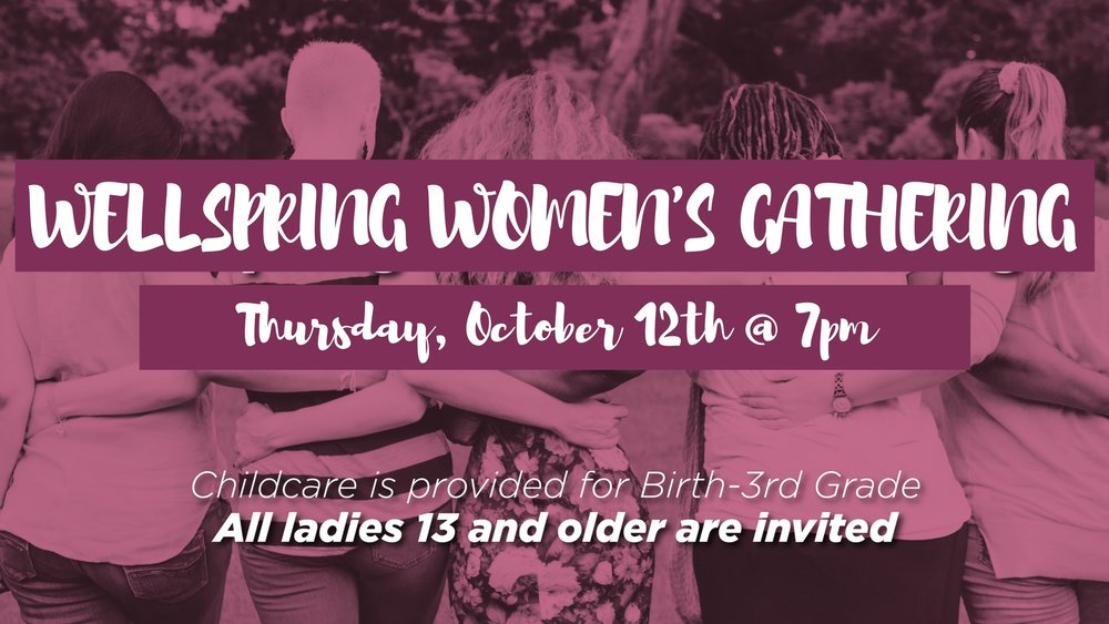 All ladies 13 and older are invited to join us for our Wellspring Women's Gathering! There will be worship, fun and fellowship and maybe even some yummy desserts and coffee! Also childcare will be provided by our approved Wellspring Kid's Male Volunteers.