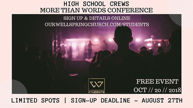 HURRY SIGN UP High schoolers! • • • Why you ask? 1. It's FREE 2. Over 3,000 students coming together. 3. Time with your CREW 4. You get to see your leaders pretty faces all day 5. You'll grow in God!!