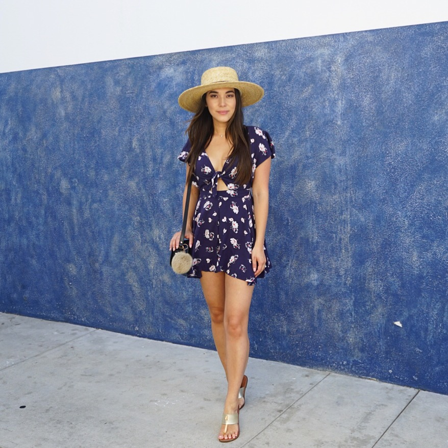 Hat //  Topshop  - Romper //  Urban Outfitters  - Sandals //  Target  - Bag //  APC