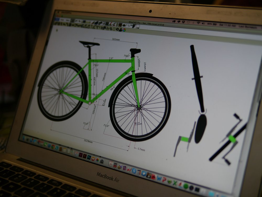 Day 1: We build your dream bike in BikeCAD and determine materials and measurements. Photo and bike built by our student Neil Ballentine