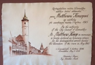 Proclamation: Matt Konop an honorary citizen of Domazlice, Czech Republic