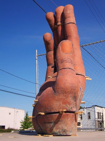 "Nine Part Hand.  H: 80"" Brick Clay, Glaze, Shims; Seattle."