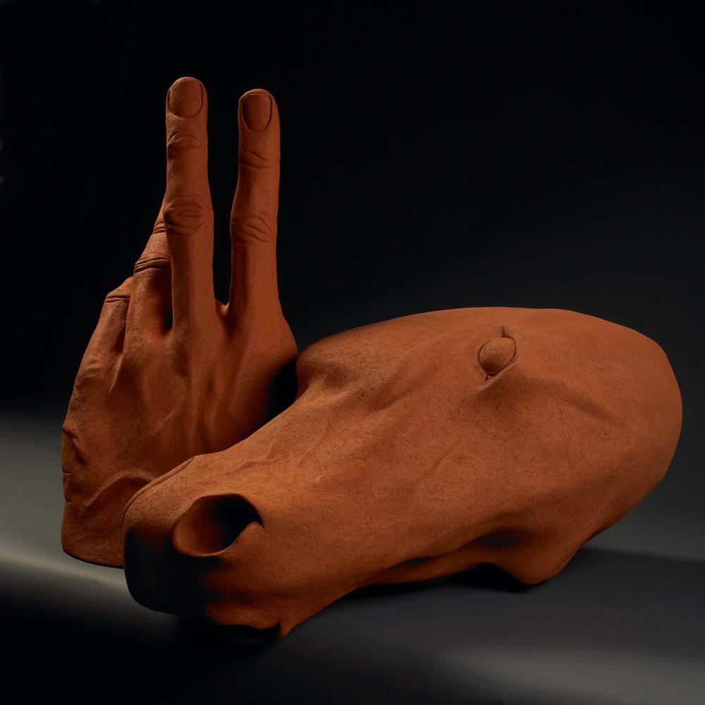 "Horse Head, Hand. H: 30"" Terra Cotta."