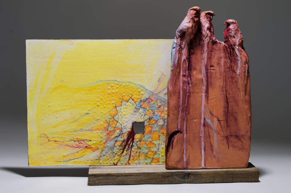 "H: 14.5"" Terra Cotta, Wood, Paper, Wax, Wheat, Paint, Ink, Pastel.                                                                                                                                                                                                      The lemon yellow wall Cells made of nut tree wood The heart"