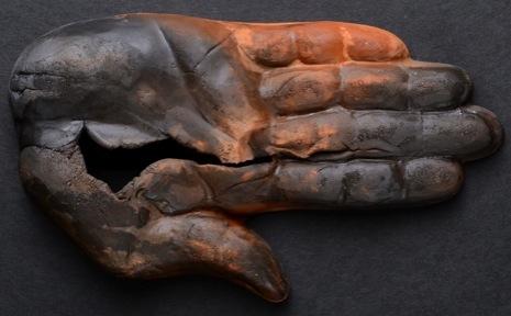 "Wall Hands.  L: 6""  Pit Fired Terra Cotta, Wax  ."