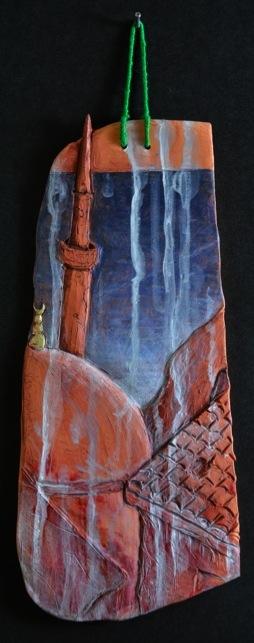 """Istanbul Tile. H: 11""""Terra Cotta, Paint, String."""