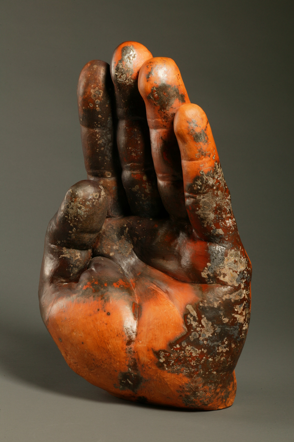 "Burnt Hand.  H: 28"" Saggar Fired Ceramic."