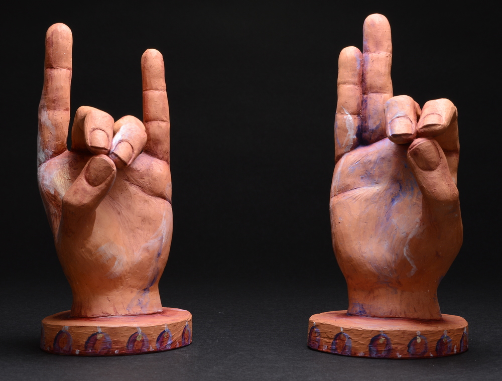 "Pushan Mudra.  H: 8"" Terra Cotta, Paint."