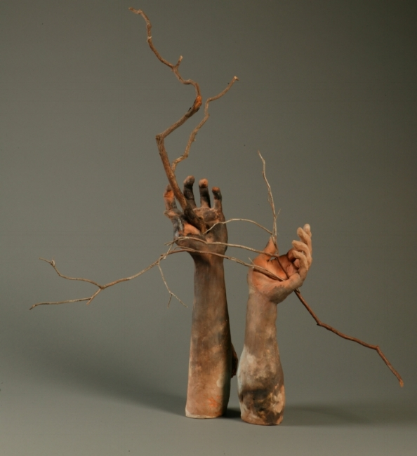 "Ikebana Hands.   H: 35""  Pit Fired Ceramic, Branches."