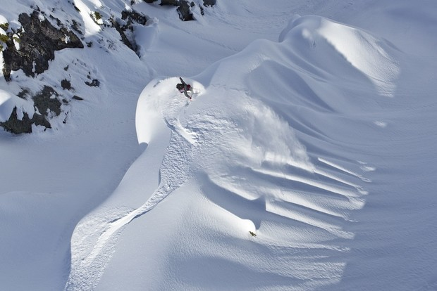 MFR slashes a steep-than-it-looks spine. Photo: Ashley Barker / Red Bull
