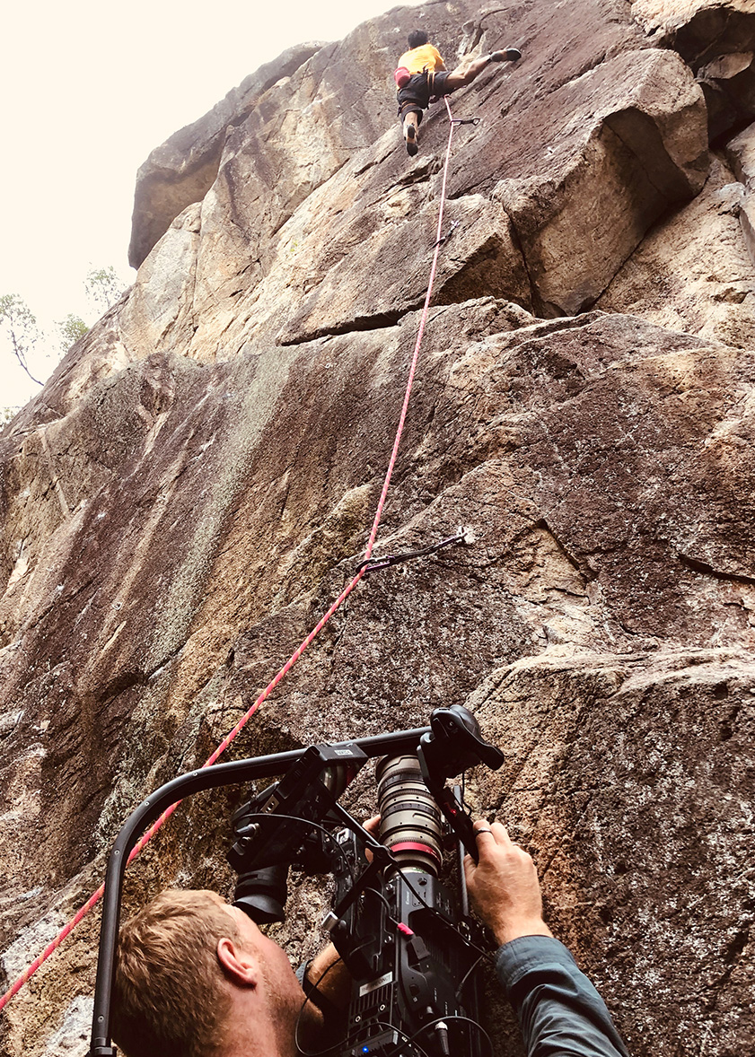 Filming against the Rock Wall in Hong Kong