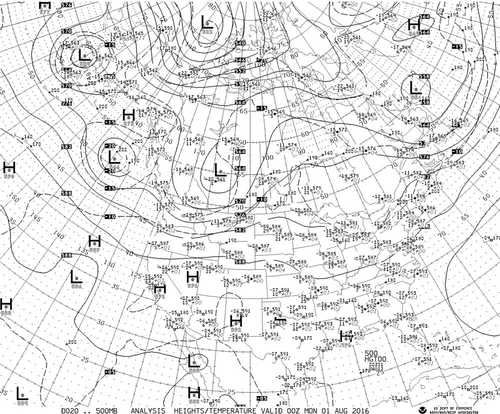 500 millibar Chart from NOAA