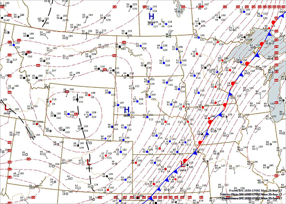 Surface Map Plot, Noon CDT, 9-25-2017 Plotted by Digital Atmosphere, www.weathergraphics.com
