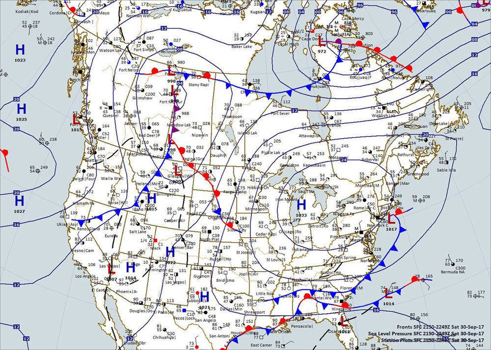 Surface Map 5:00 p.m. CDT, 9-30-2017 (Plotted using Digital Atmosphere, www.weathergraphics.com)