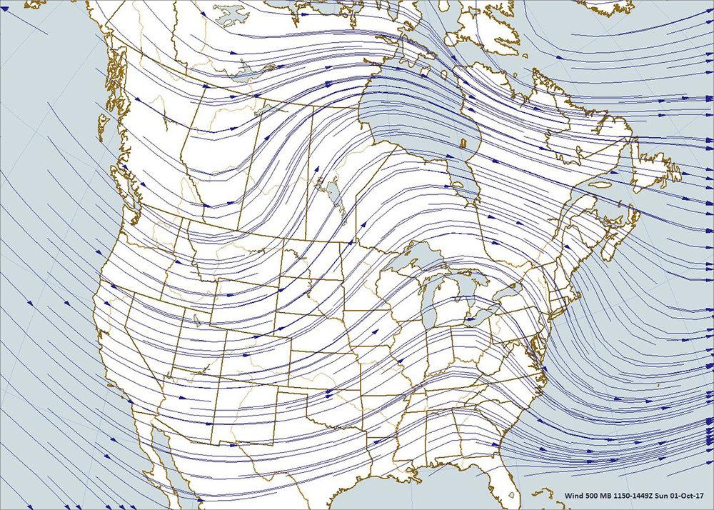 500 Millibar Map, 7:00 a.m., CDT, Sunday, October 1, 2017; Plotted using Digital Atmosphere, www.weathergraphics.com