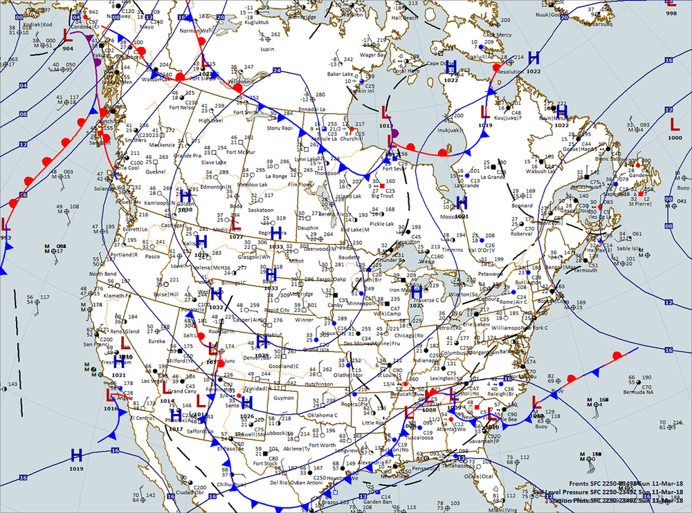 Evening US - Canada Surface Map — Weather Briefing, L.C.