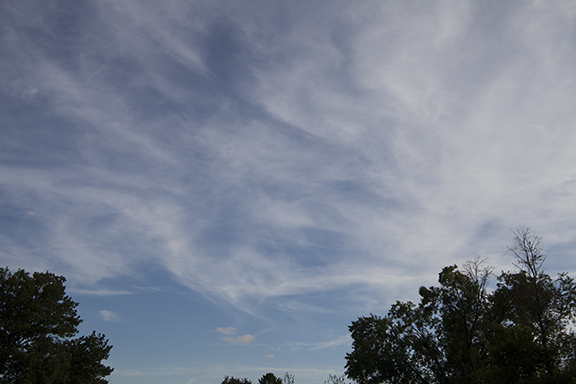 Cirrostratus with fall streaks. September 24, 2018 at Cedar Falls, Iowa