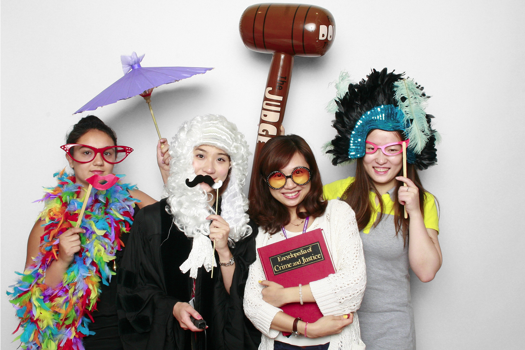 New York Photobooth NYU Law School Orientation students with gavel