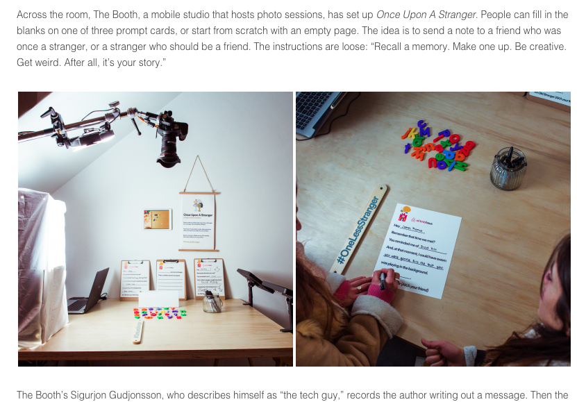 The Booth's custom photo booth is featured on Airbnb's blog.