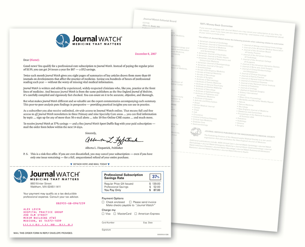 JOURNAL WATCH — Subscription Acquisition Direct Mail