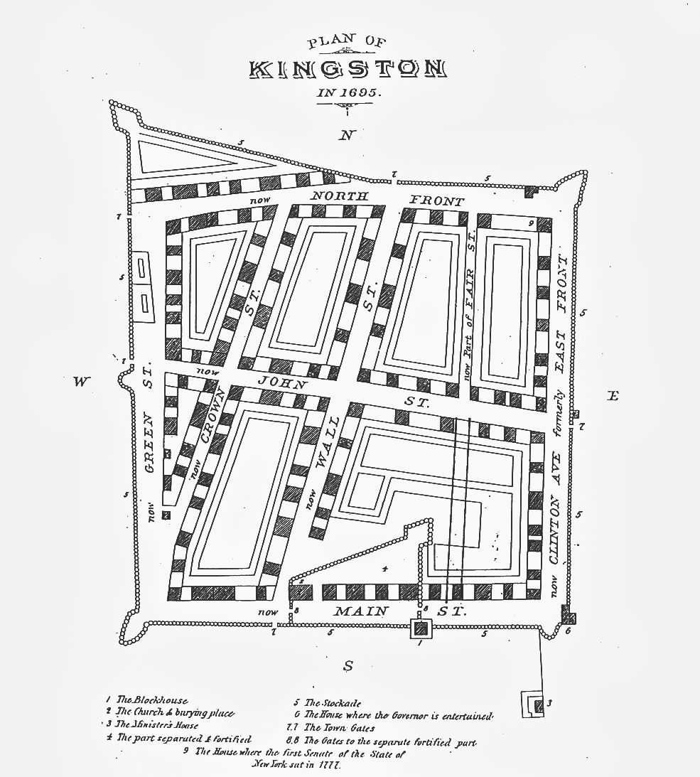 Original map of the area protected by Kingston's stockade fence in 1695.  via  James Werner