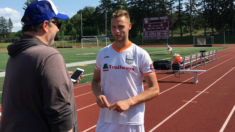 Hat-trick hero Michael Creswick does a post-match interview after Stockade FC's lopsided win.