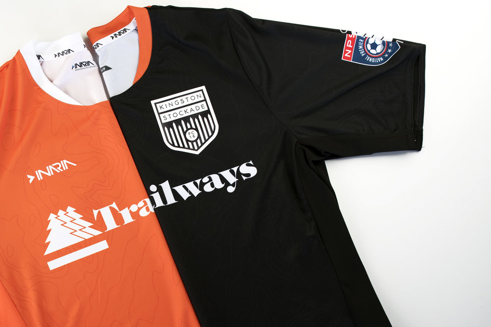 Kingston Stockade FC's 2018 home and away kits.