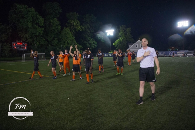 Coach Lindholm thanking Stockade FC fans after the 2017 NPSL Northeast Regional Semi-Final.