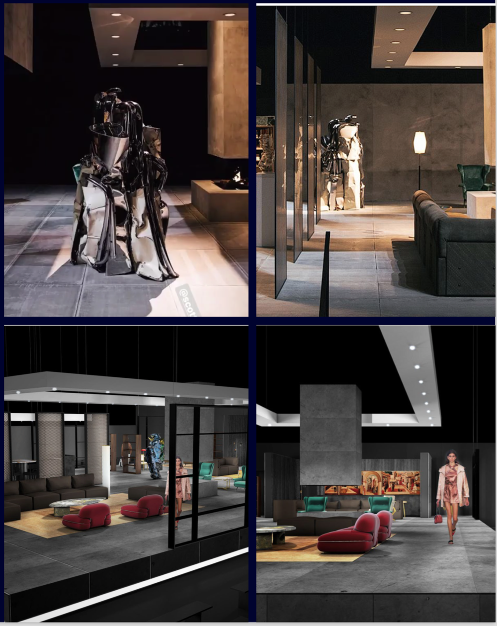 Bottega Veneta 2018 NYFW - House BV secured the American Stock Exchange as a venue (a loaded metaphor in this turbulent week on Wall Street) and built out a set complete with a working fireplace and a John Chamberlain sculpture.