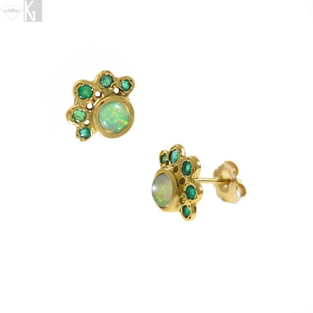 Natural Ethiopian opal & Emeralds adorn these 14k gold paw earrings, hand-carved, cast and finished. Great as a daily driver, add a splash of color and they're sure to go with any outfit this spring.  Use code MOM2019 to receive 20% off your order through Mothers Day, 12 May 2019.  #handmade #earrings #goldearrings #pawearrings #luxury #jewelry #style #ethiopianopal #opal #naturalgems #gemstones #natural #gold #golden #emerald #futureheirlooms #dailydriver #mothersday #loveyourmom #madeinla #dtla #shoplocal #shopsmall #boutique #nativeangelsjewelry #kristinagracedesigns