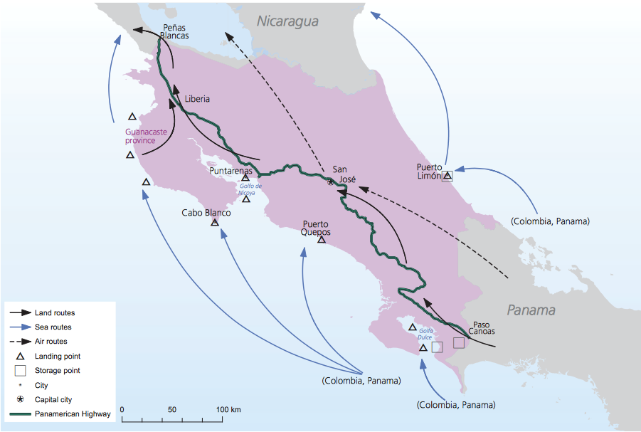 Cocaine trafficking routes in Costa Rica.  Image Credit: UNODC, 2012