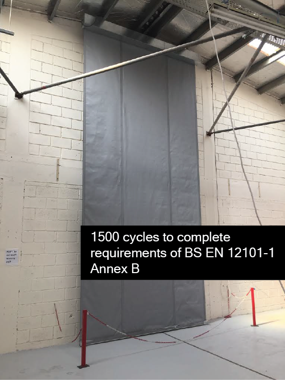 3m wide x 10m drop smoke curtain undergoing cycle testing to BS EN 12101-1:2006 Annex B