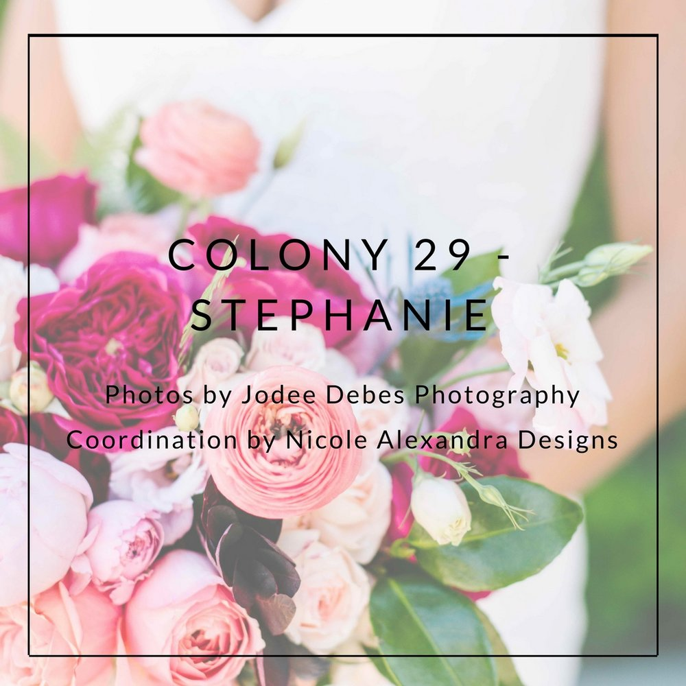 COLONY 29- STEPHANIE  Photos by  Jodee Debes Photography    Coordination by  Nicole Alexandra Designs
