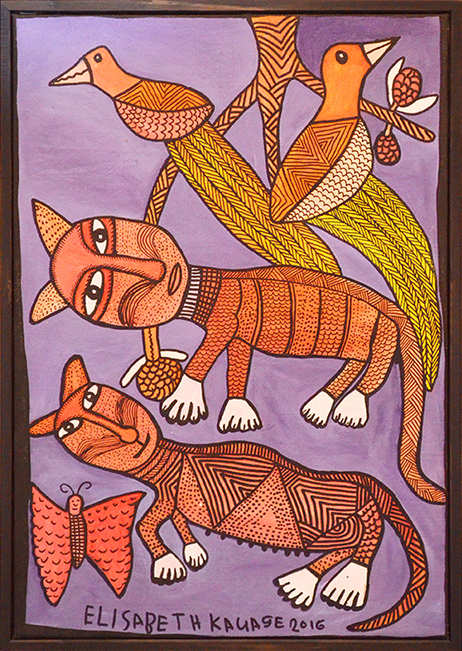 Elisabeth Kauage // 'Untitled; Cats' (Framed) // 70x49 cm // $650