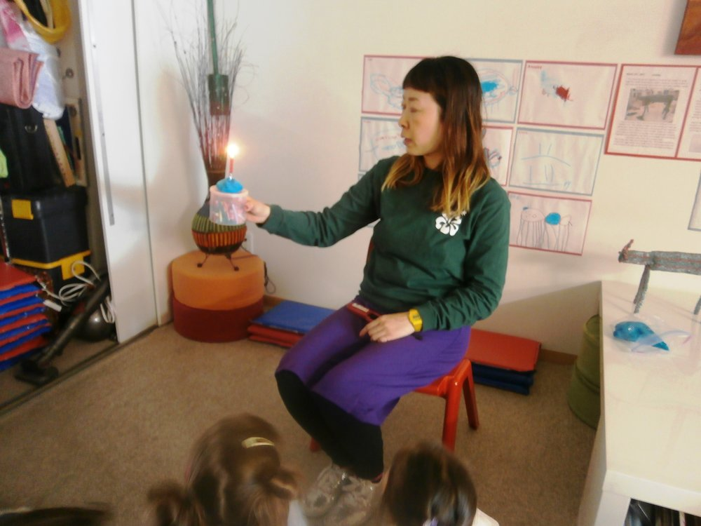 """""""Focus on the candlelight."""" Hisami urged us during our meditation session with her."""