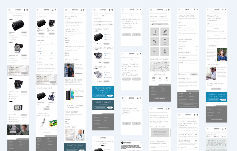 Wireframes from the design sprint